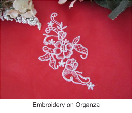 Emb on organza